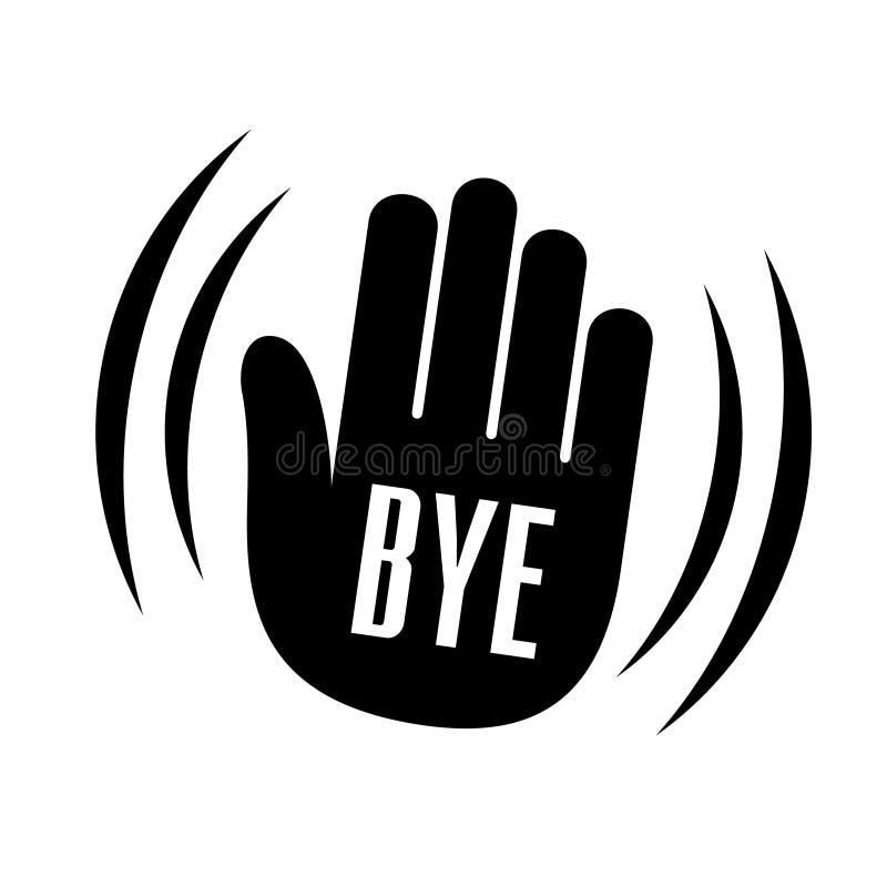 Bye Waving Hand Palm Logo. Simple Style. Stock ...