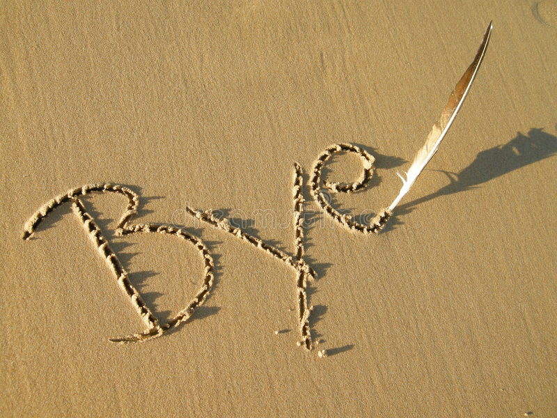 Download Bye written in sand stock image. Image of letters, horizontal - 7929543
