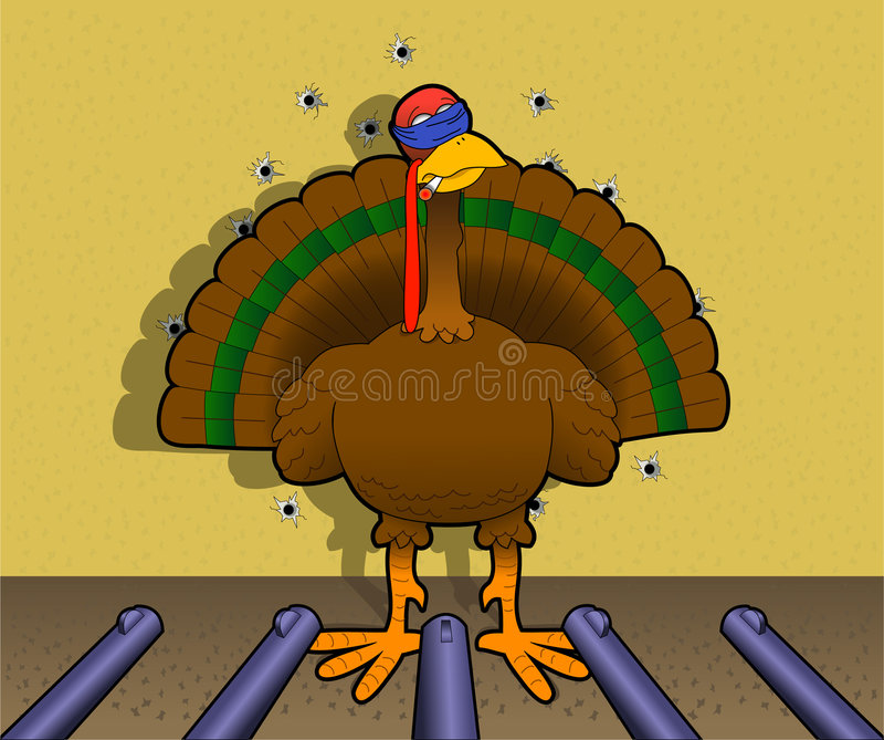 Byebye_turkey. Cartoon graphic depicting a turkey before a firing squad (concept: turkey shoot royalty free illustration