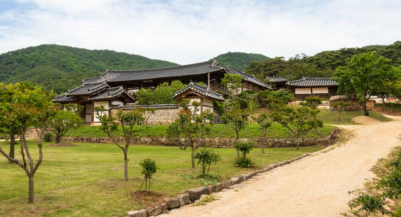 Panorama View on the korean Byeongsan Seowon Confucian Academy, UNESCO World Heritage. Andong, South Korea, Asia. Byeongsanseowon is a Confucian school that was stock photography