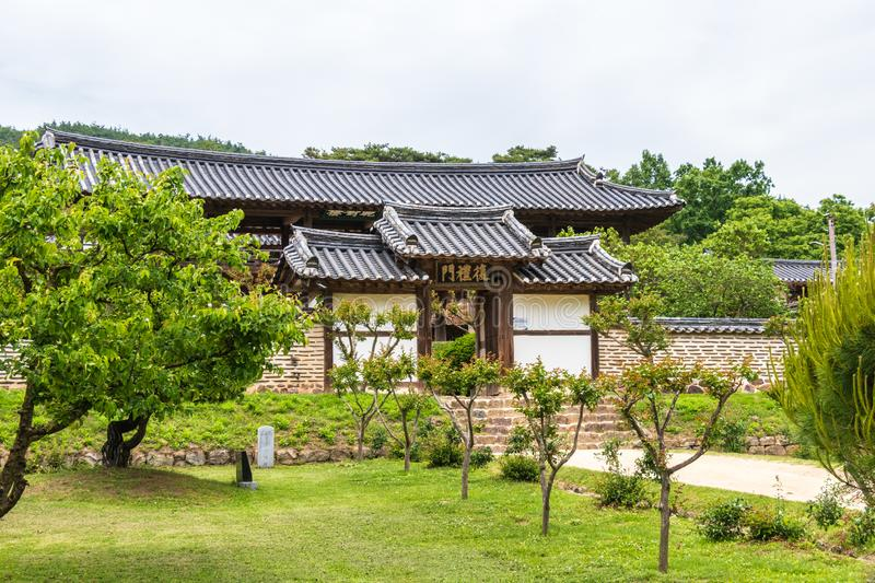 Central entrance to the korean Byeongsan Seowon Confucian Academy in typical landscape, UNESCO World Heritage. Andong, South Korea. Byeongsanseowon is a stock images