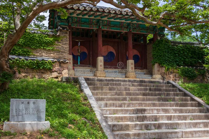 Central Gate with steps and monument of the korean Byeongsan Seowon Confucian Academy, UNESCO World Heritage. Andong, South Korea. Byeongsanseowon is a Confucian stock photo