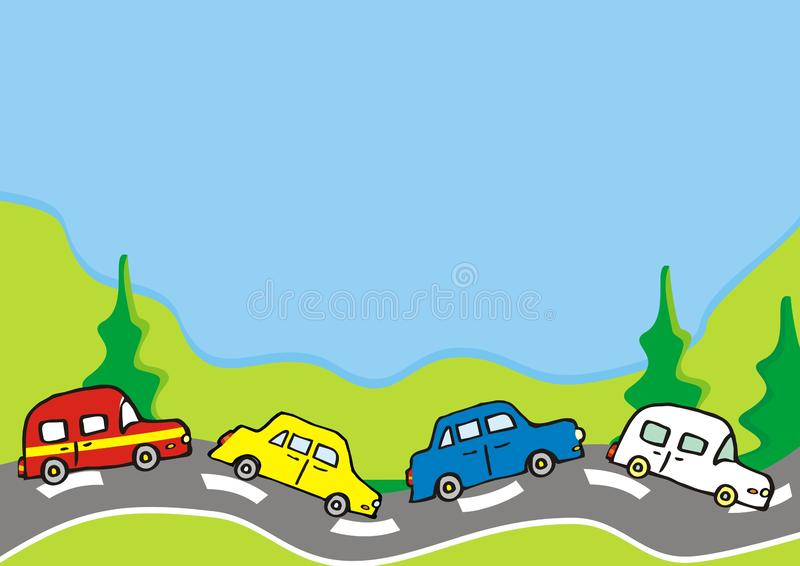 Bygd, grupp av bilar på vägen och träd, vektorillustration stock illustrationer