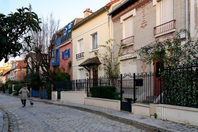 Bygden i Paris, område av paviljonger som är sällsynta i Paris fotografering för bildbyråer
