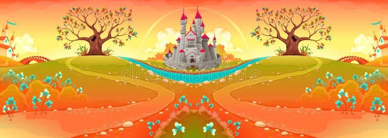 Bygdlandskap med slotten i solnedgången stock illustrationer