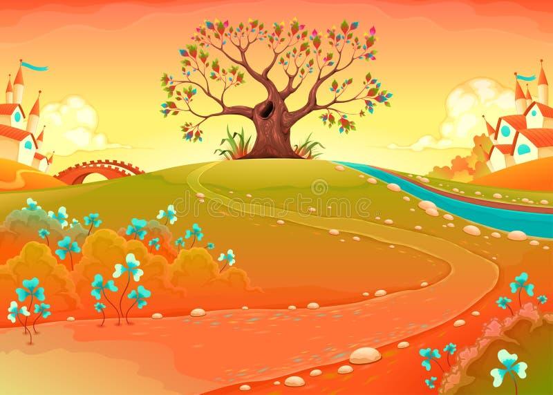 Bygdlandskap med trädet i solnedgången royaltyfri illustrationer