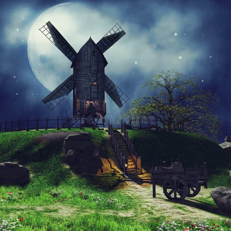 Bygdlandskap på natten royaltyfri illustrationer