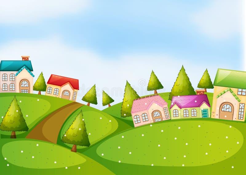 Download Bygdplats Med Hus På Kullarna Vektor Illustrationer - Illustration av ytter, växter: 78730761