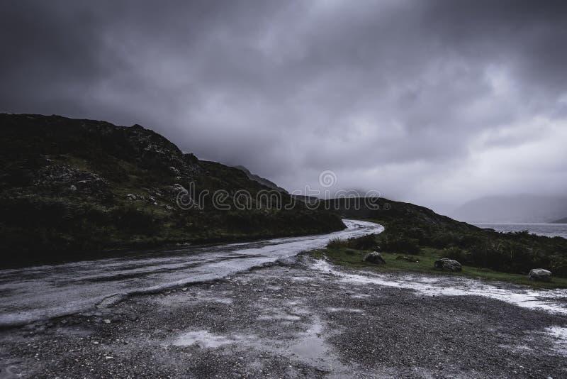 Bygdväg som är våt efter regn i den sceniska bergdalen royaltyfria bilder