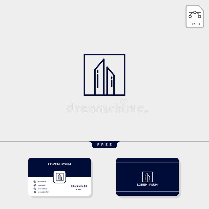 bygg arkitekten, för logomall för fastighet den idérika illustrationen för vektor och logoinspiration Mall för affärskortdesign vektor illustrationer