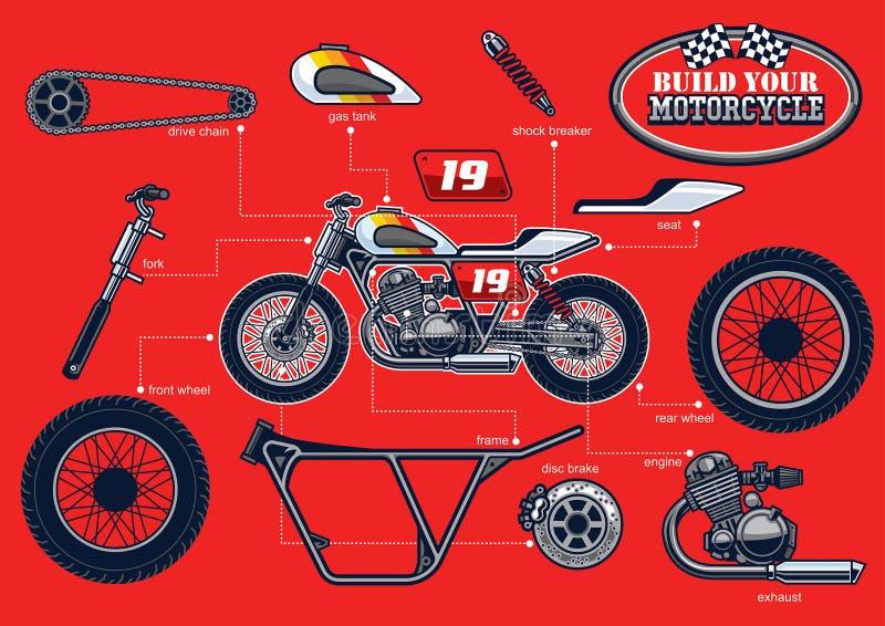 Bygg din tävlings- motorcykel med avskilda delar stock illustrationer