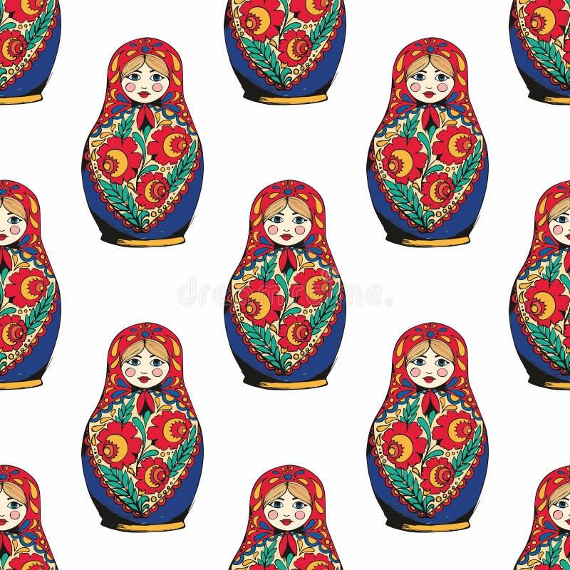 Bygga bo dockan Det traditionella symbolet av Ryssland teckningen hand henne morgonunderkläder upp varmt kvinnabarn seamless vekt vektor illustrationer
