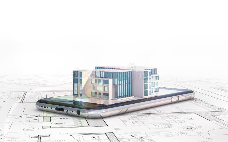 Byggande Arkitektplan, som smartphonen ligger på och orienteringen av huset vektor illustrationer