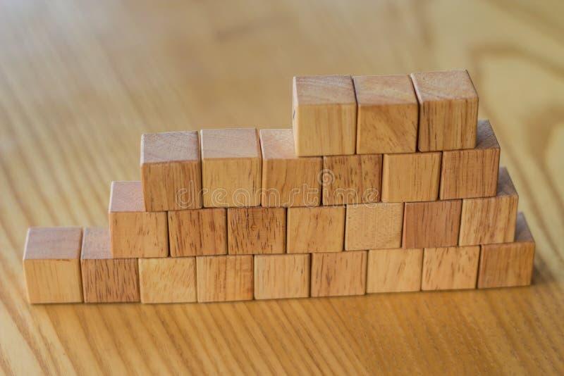 Byggande av en vägg från trätegelstenar för konstruktion eller landscapi royaltyfri fotografi