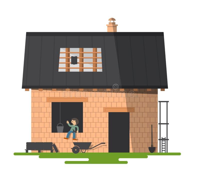 Byggande av ett nytt familjhus Vektorkonstruktionsillustration med tegelstenar stock illustrationer