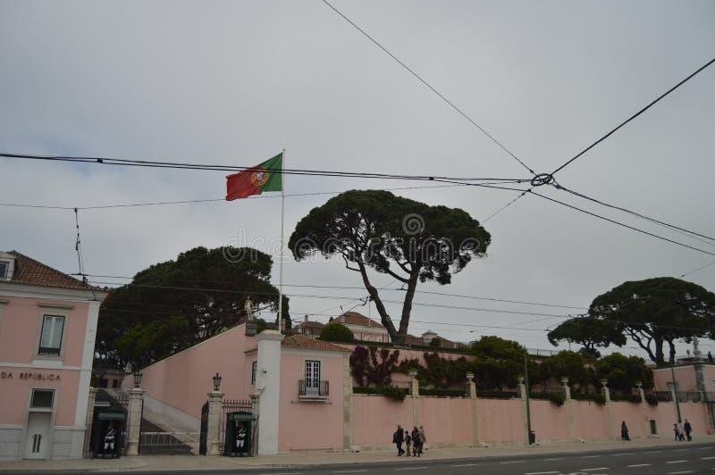 Byggande av generalsekreteraren Of The Presidency i Belem i Lissabon Natur arkitektur, historia, gatafotografi _ royaltyfri fotografi