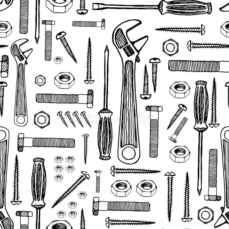 byggande drillisolering tools white tecknad handmodell royaltyfri illustrationer
