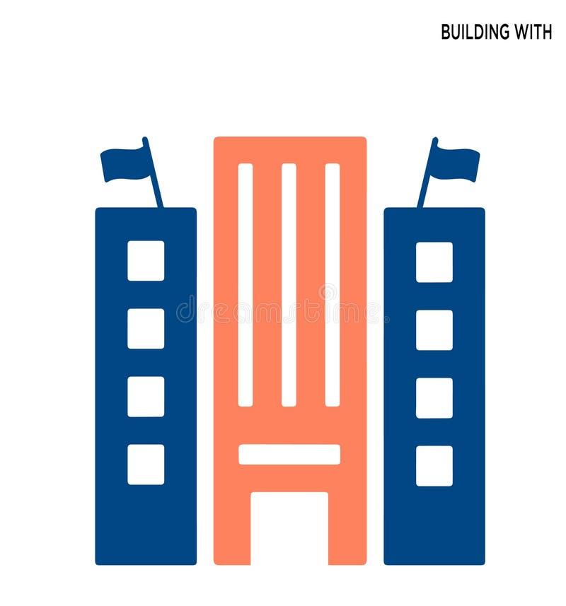 Byggande för symbolssymbol för två flaggor redigerbar design stock illustrationer