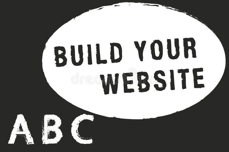 Byggande för textteckenvisning din Website Begreppsmässig fotoinställning - upp ett ecommercesystem som marknadsför en affär royaltyfri illustrationer
