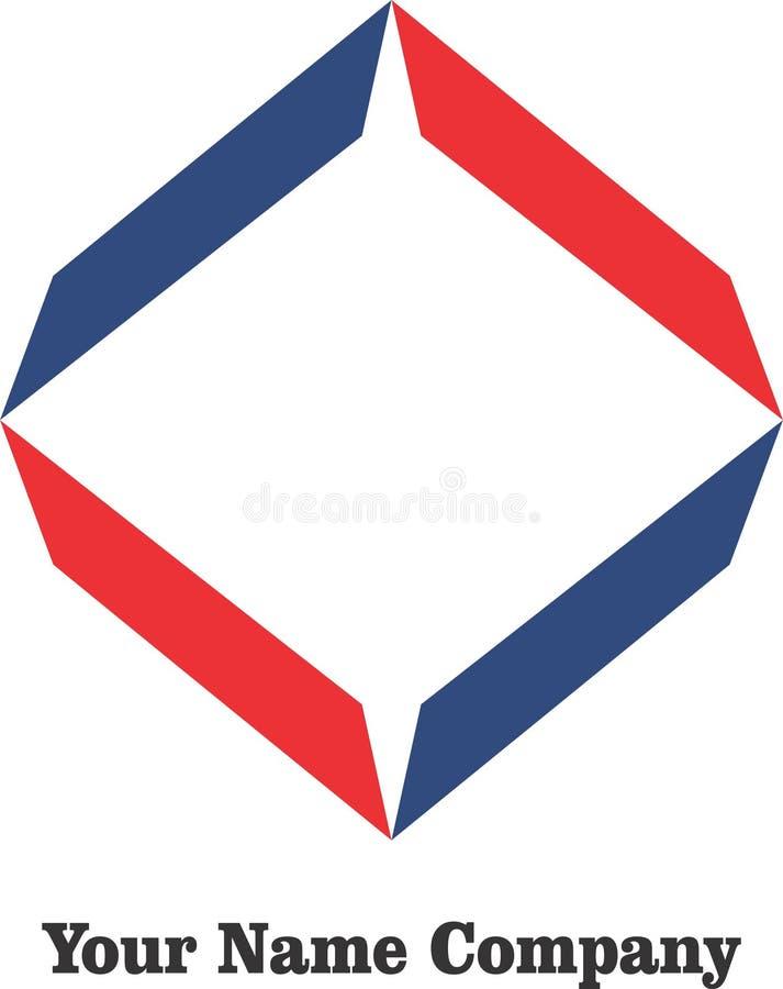 Byggande för vektor för logoer för företag för enkel design för modern affär för logokonst blått rött royaltyfri illustrationer