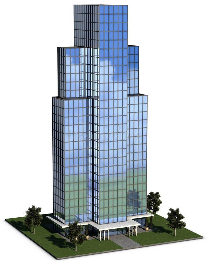 byggande företags hög modern kontorsstigning royaltyfri illustrationer