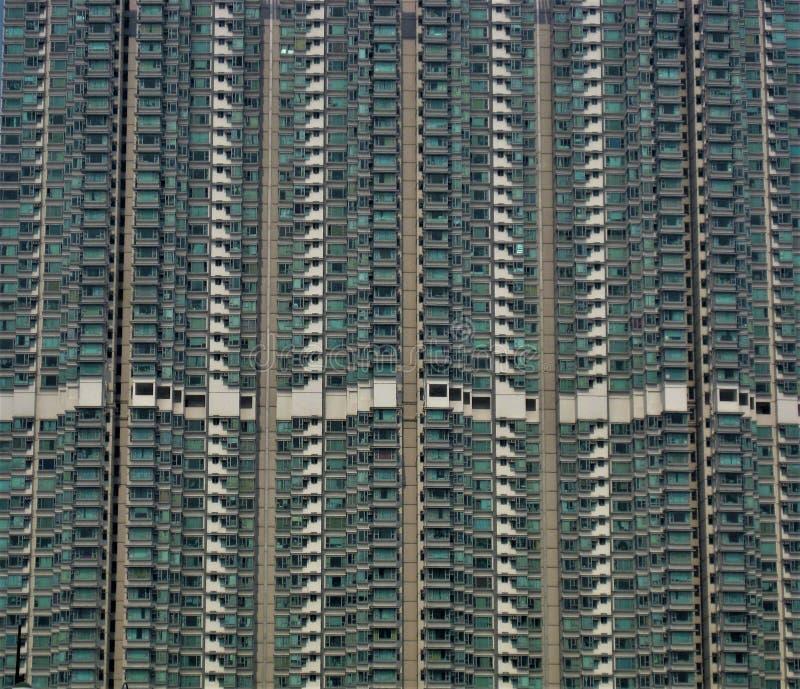 Byggande fasad i Hong Kong Apartments arkivbilder