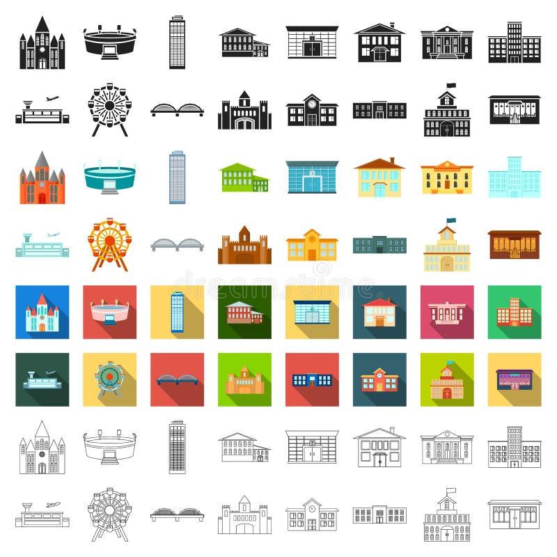 Byggande fastställda symboler i tecknad filmstil Stor illustration för materiel för symbol för samlingsbyggnadsvektor royaltyfri illustrationer