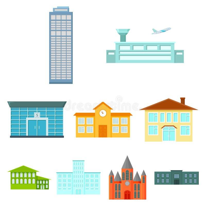 Byggande fastställda symboler i tecknad filmstil Stor samling av illustrationen för materiel för byggnadsvektorsymbol stock illustrationer