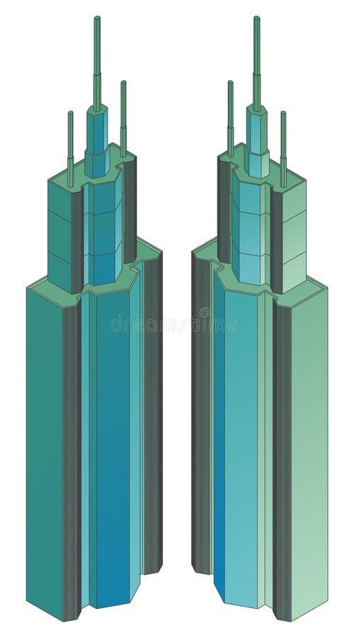 Download Byggande Hög Isometrisk Projektion Stock Illustrationer - Illustration av vitt, farstubro: 19781616