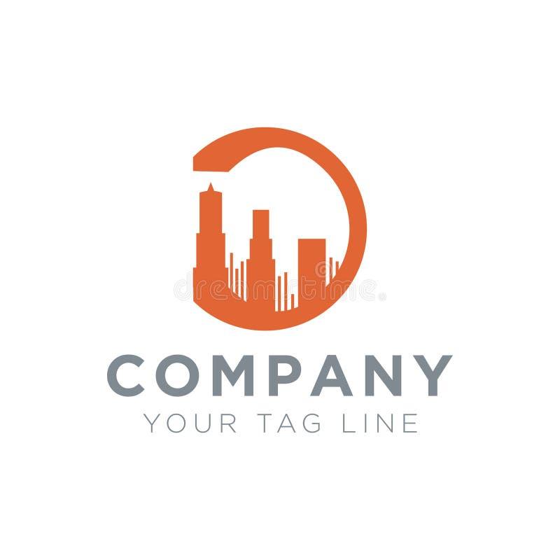 Byggande logo i en cirkel i formen av bokstav D stock illustrationer