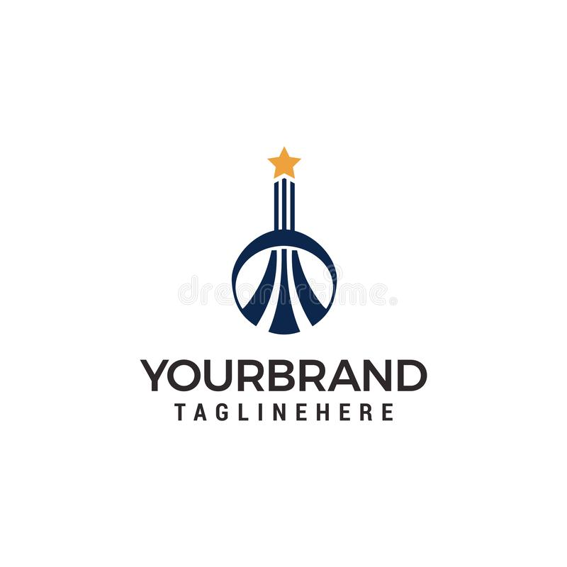 Byggande logo med logomallen för stjärna överst royaltyfri illustrationer