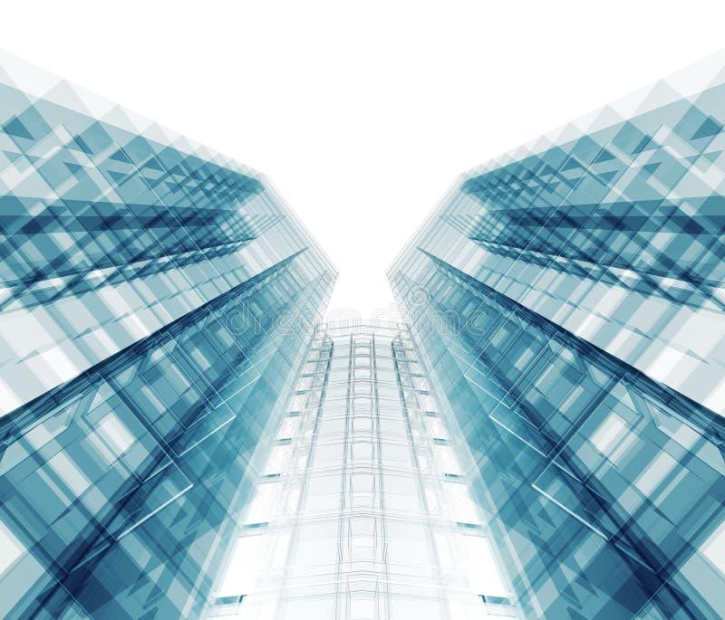 byggande modernt kontor framf?rande 3d royaltyfri illustrationer