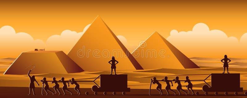 Byggande pyramid i Egypten i forntida tidbruksmän som är slav- den hela dagen, tecknad filmversion stock illustrationer