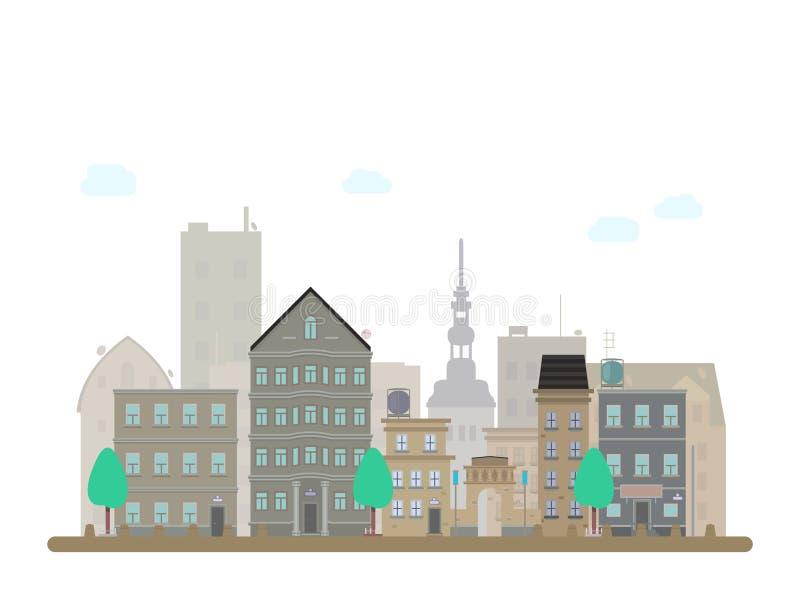 Byggande sityvektor och skyskrapor på bakgrund Linjär illustration för plan vektor royaltyfri illustrationer