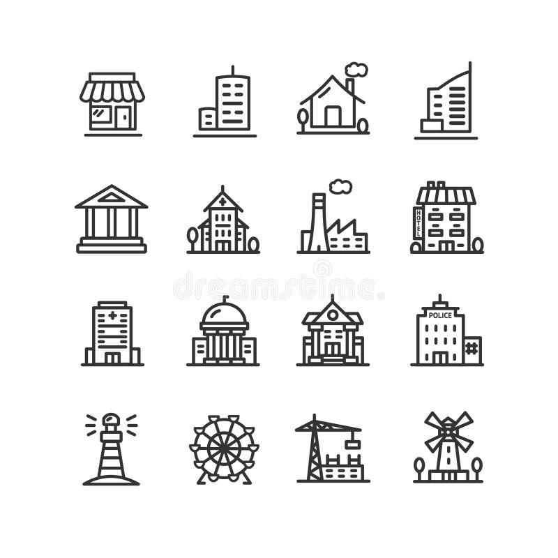 Byggande svart tunn linje symbolsuppsättning för hus eller för hem vektor stock illustrationer