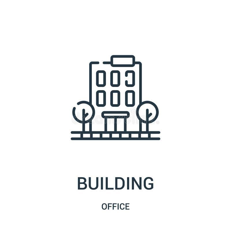 byggande symbolsvektor från kontorssamling Tunn linje illustration f?r vektor f?r byggnads?versiktssymbol stock illustrationer