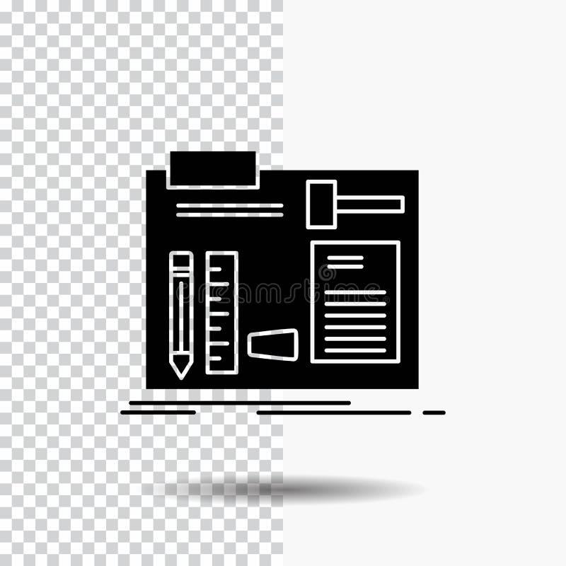Byggande tankeskapelse som är diy, tekniker, seminariumskårasymbol på genomskinlig bakgrund Svart symbol stock illustrationer