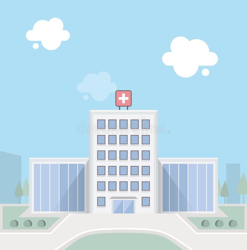 byggande tecknad white för vektor för handsjukhusillustration royaltyfri illustrationer