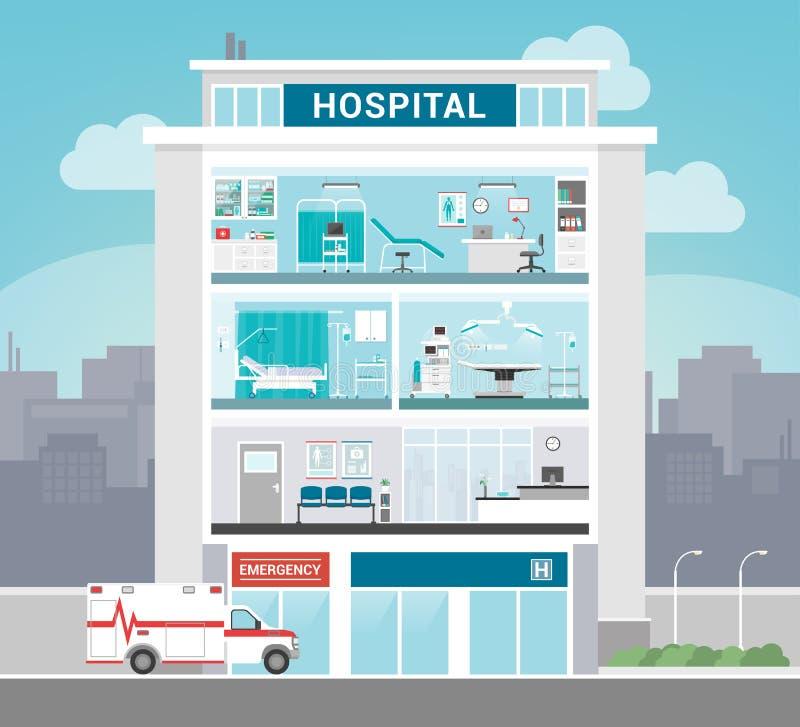 byggande tecknad white för vektor för handsjukhusillustration vektor illustrationer