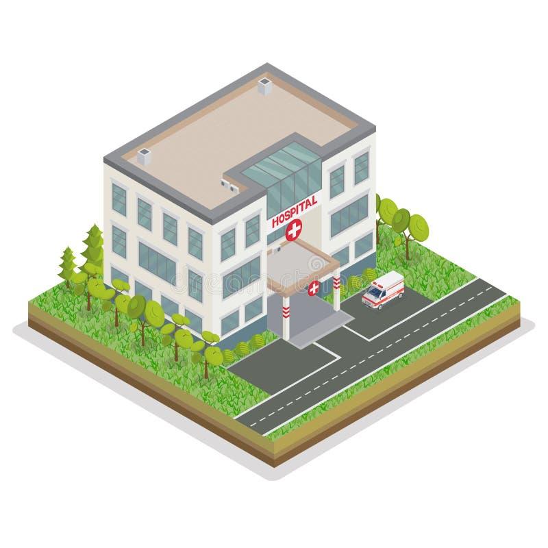 byggande tecknad white för vektor för handsjukhusillustration Stadssjukhus Isometrisk vårdcentral stock illustrationer