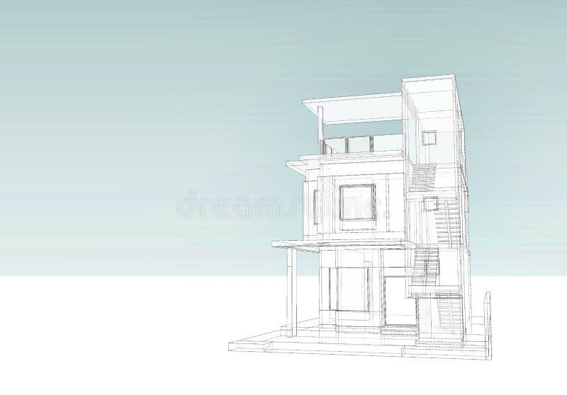 Byggande: trådram vektor illustrationer