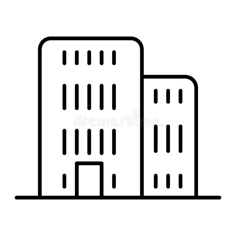 Byggande tunn linje SYMBOL Arkitekturvektorillustration som isoleras på vit Design för kontorsöversiktsstil som planläggs för vektor illustrationer