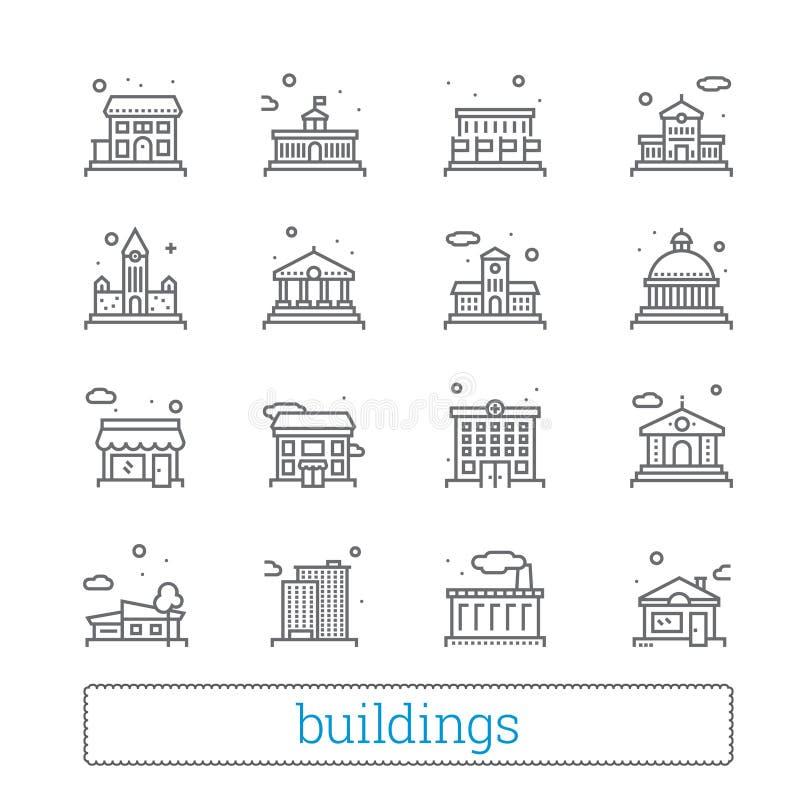 Byggande tunn linje symboler Offentligt, regerings-, utbildning och personliga hus Moderna linjära vektordesignbeståndsdelar royaltyfri illustrationer