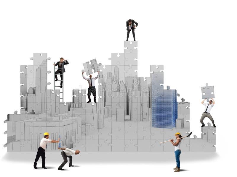 Byggandeprojekt i 3d vektor illustrationer