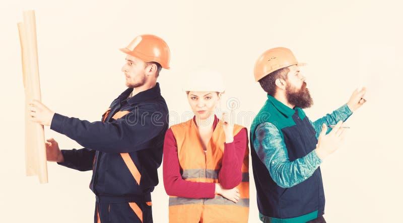 Byggmästare arkitekt, repairman som söker faktotumet Hyra arbetarbegrepp fotografering för bildbyråer