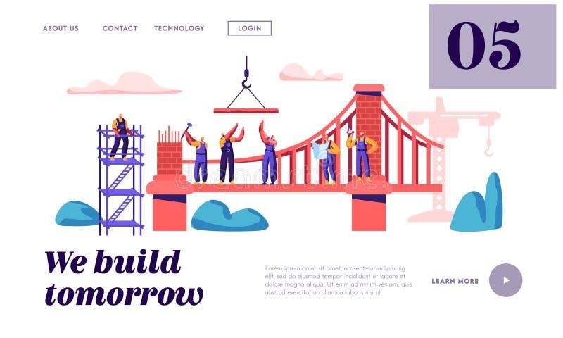 Byggmästare Construct Brick Bridge med sidan för landning för konstruktionskran och hammare Arkitekt Worker Build Gate Tekniker p stock illustrationer