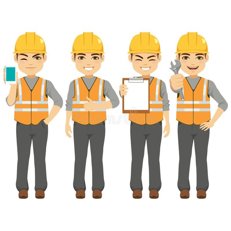Byggmästare Constructor Worker stock illustrationer