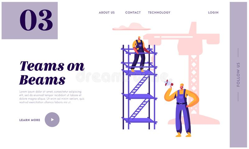 Byggm?stare Employee Building med konstruktion Crane Landing Page Arbetarman i hj?lmbyggandeobjekt som st?r p? stege _ stock illustrationer