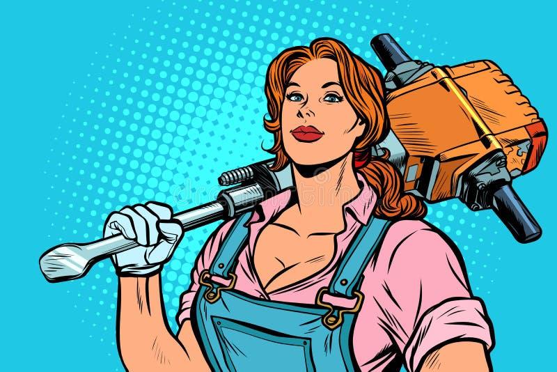 Byggmästare för kvinnavägarbetare med tryckluftsborren stock illustrationer
