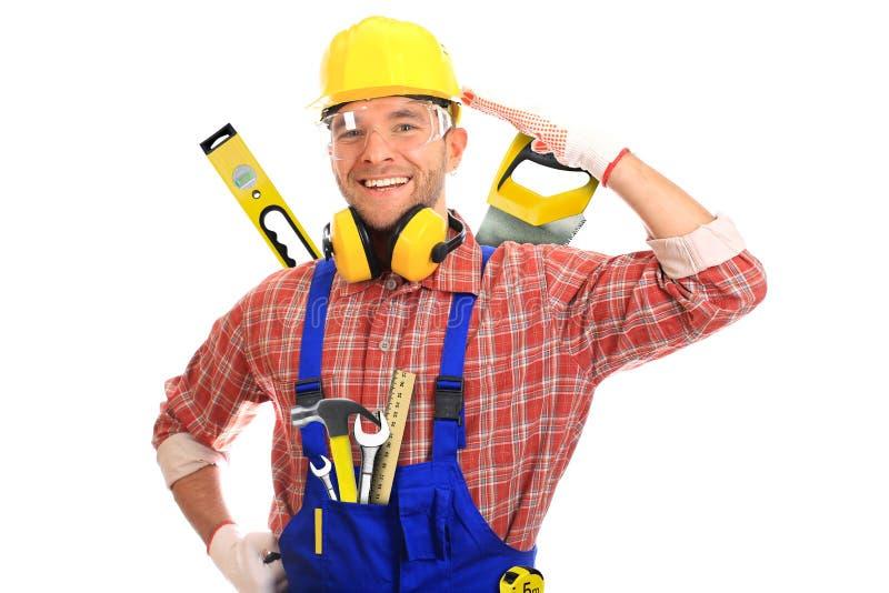Byggmästare i gul hjälm fotografering för bildbyråer